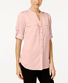 Zip-Pocket Utility Blouse