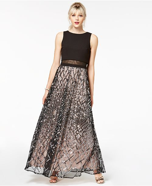 Say Yes To The Prom Juniors Sequined Grid Popover Gown Created For