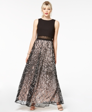 Say Yes to the Prom Juniors Sequined Grid Popover Gown a Macys Exclusive Style