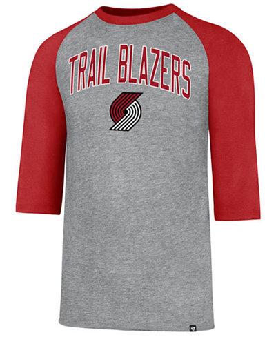 '47 Brand Men's Portland Trail Blazers Zone Raglan Three-Quarter Sleeve T-Shirt