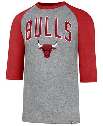 '47 Brand Men's Chicago Bulls Zone Raglan Three-Quarter Sleeve T-Shirt