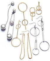 I.N.C Two-Tone Mismatch Drop Earrings, Created for Macy's