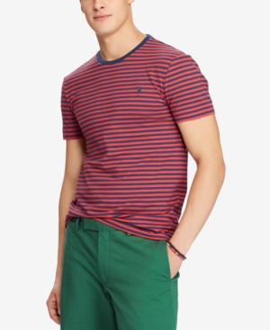 295620e14c Polo Ralph Lauren Men'S Classic Fit Striped T-Shirt In Evening Post Red /Rustic
