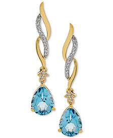Swiss Blue Topaz (2-3/8 ct. t.w.) & Diamond (1/10 ct. t.w.) Drop Earrings in 14k Gold