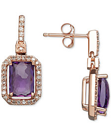 Amethyst (1-3/4 ct. t.w.) & Diamond (1/5 ct. t.w.) Drop Earrings in 14k Rose Gold