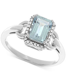 Aquamarine (1-3/8 ct. t.w.) & Diamond (1/10 ct. t.w.) Ring in 14k White Gold