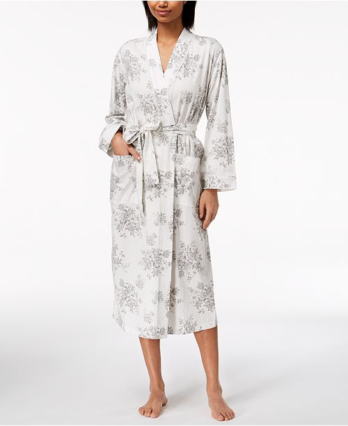 Charter Club Rose-Print Cotton Knit Robe 30c67af20