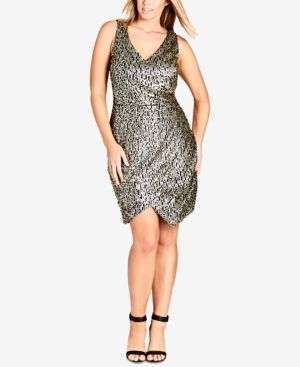 TRENDY PLUS SIZE SEQUINED FAUX-WRAP DRESS