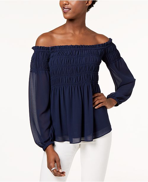 5435b59ae65 Michael Kors Smocked Off-The-Shoulder Top & Reviews - Tops ...