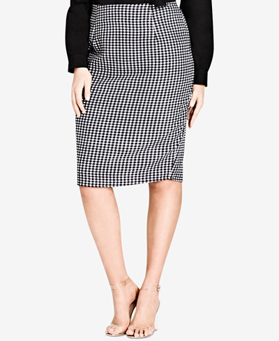 City Chic Trendy Plus Size Printed Pencil Skirt