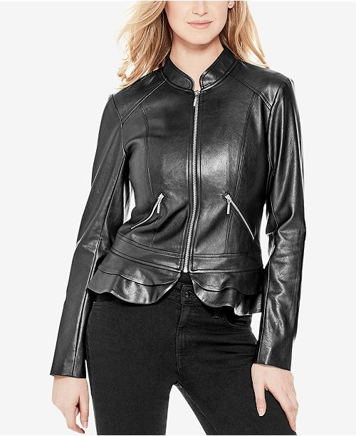 GUESS Kate Faux-Leather Peplum Jacket