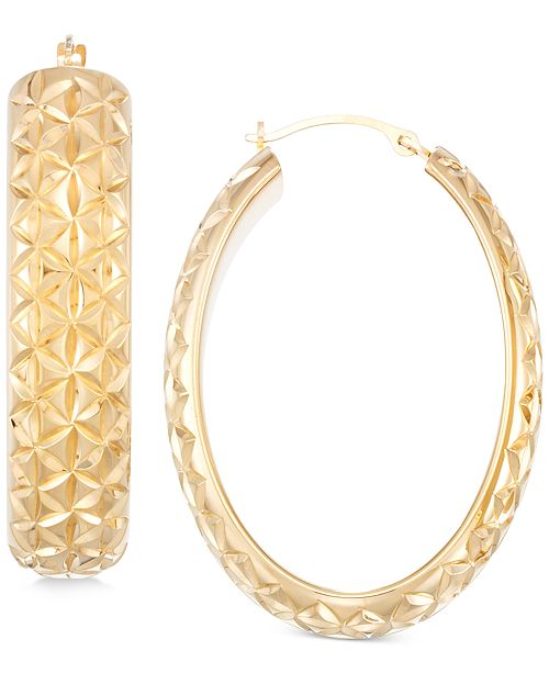 Italian Gold Diamond Accent Textured Hoop Earrings in 14k Gold over Resin