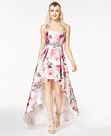 City Studios Juniors' Floral-Print High-Low Gown, Created for Macy's