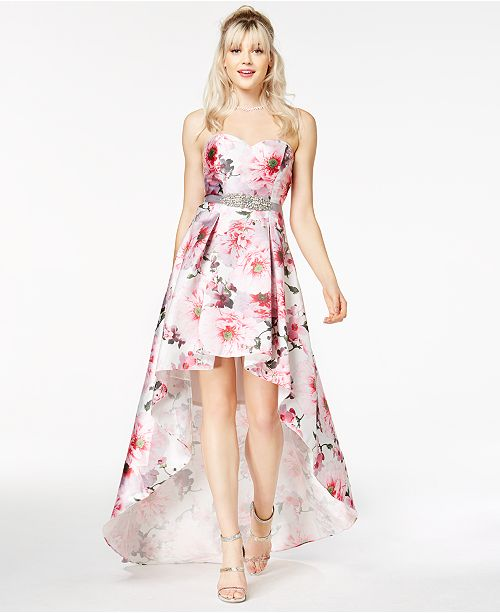 0f867998c ... City Studios Juniors' Floral-Print High-Low Gown, Created for Macy's ...