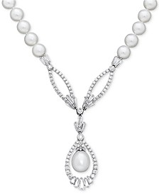 "Cultured Freshwater Pearl (8mm) and Swarovski Zirconia 17"" Pendant Necklace in Sterling Silver"