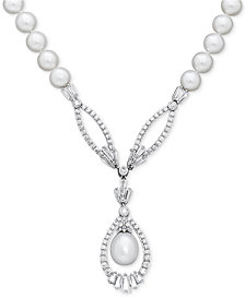 "Arabella Cultured Freshwater Pearl (8mm) and Swarovski Zirconia 17"" Pendant Necklace in Sterling Silver"