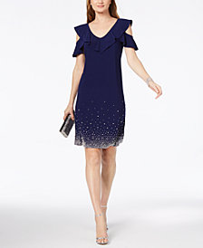 MSK Ruffled Cold-Shoulder Dress