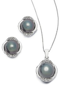 Black Cultured Tahitian Pearl and Diamond Jewelry Collection in 14k White Gold