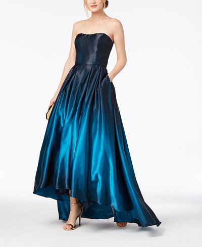 Betsy & Adam Strapless Ombré High-Low Gown