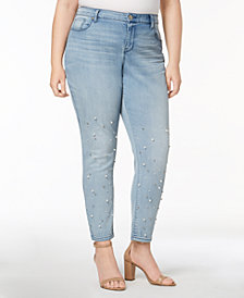 Style & Co Plus Size Pretty Pearl Embellished Skinny Jeans, Created for Macy's