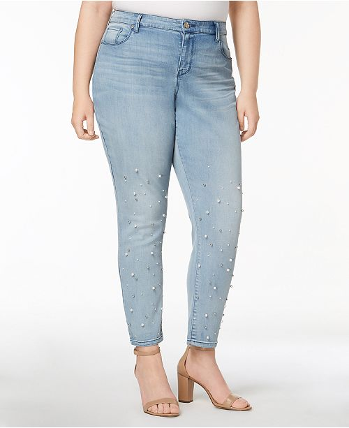 9806e243ec5 ... Style   Co Plus Size Pretty Pearl Embellished Skinny Jeans