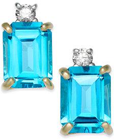 Blue Topaz (4 ct. t.w.) & Diamond (1/10 ct. t.w.) Stud Earrings in 14k Gold
