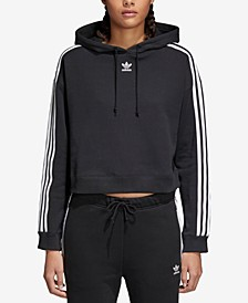adicolor Cropped Cotton Three-Stripe Hoodie