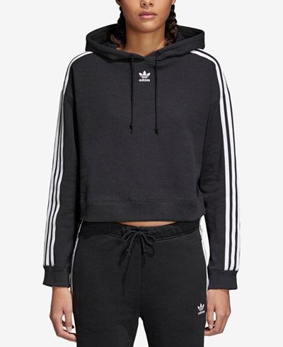 adidas Originals adicolor Cropped Cotton Three-Stripe Hoodie