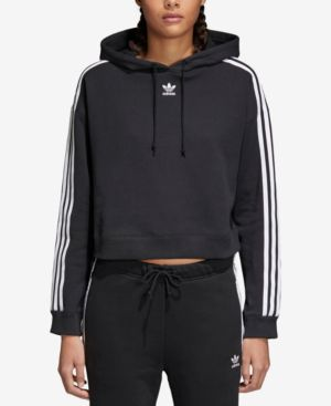 Cropped Striped Cotton-Jersey Hoodie in Black
