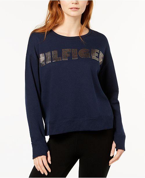 95afac86 Tommy Hilfiger Metallic Logo-Print Sweatshirt & Reviews - Tops ...