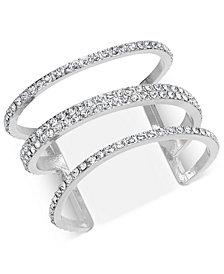I.N.C. Silver-Tone Pavé Triple-Row Cuff Bracelet, Created for Macy's