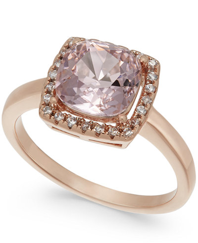 Charter Club Rose Gold-Tone Crystal Square Halo Ring, Created for Macy's
