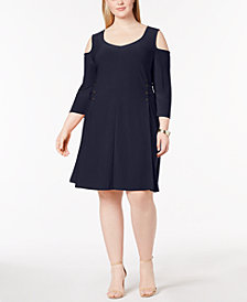 Love Scarlett Plus Size Cold-Shoulder Lace-Up Dress