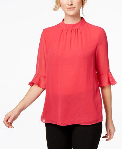 Calvin Klein Bell-Sleeve Chiffon Top, Regular & Petite