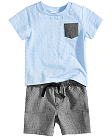 First Impressions Textured T-Shirt & Chambray Shorts, Baby Boys, Created for Macy's