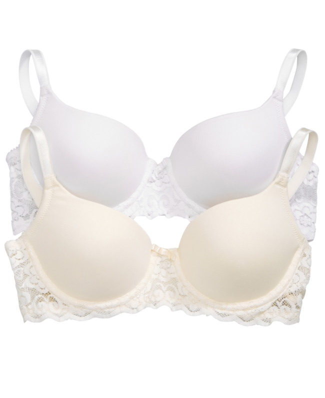 Lily Of France Smooth Lace Push Up Convertible Strap Bra 2 Pack 2179541 Bandeau   Underwear and Clothing