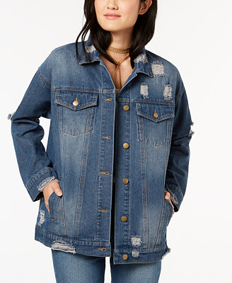 Juniors' Cotton Denim Ripped Trucker Jacket by Say What?