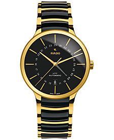 Rado Men's Swiss Automatic Centrix GMT XL Gold-Tone PVD Stainless Steel & Black High-Tech Ceramic Bracelet Watch 40mm