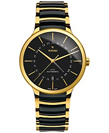 Rado Men's Swiss Automatic Centrix GMT XL Gold-Tone PVD Stainless Steel & Black High-Tech Ceramic Bracelet Watch 40mm