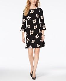 타미 힐피거 벨소매 원피스 Tommy Hilfiger Printed Jersey Bell Sleeve A-line Dress