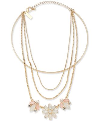 """I.N.C. Gold-Tone Multi-Chain Flower Choker Necklace, 12"""" + 1"""" extender, Created for Macy's"""