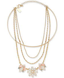 "I.N.C. Gold-Tone Multi-Chain Flower Choker Necklace, 12"" + 1"" extender, Created for Macy's"