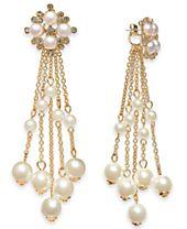 I.N.C. Gold-Tone Imitation Pearl Fringe Drop Earrings, Created for Macy's