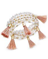 I.N.C. Gold-Tone Bead and Tassel Stretch Bracelet, Created for Macy's