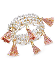 I.N.C. Gold-Tone Bead and Tassel Stretch Bracelet, Created for Macy's