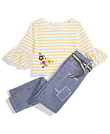 Nowadays x Bailee Madison Railroad Striped Denim Jeans & Striped Knit Top with Embroidery Separates, Big Girls & Juniors
