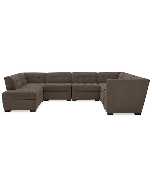 Furniture Roxanne II Performance Fabric 7-Pc. Modular Sofa with Bumper Chaise - Custom Colors, Created for Macy's