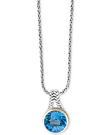 "Final Call by EFFY® Blue Topaz 18"" Pendant Necklace (14-3/8 ct. t.w.) in Sterling Silver & 18k Gold"