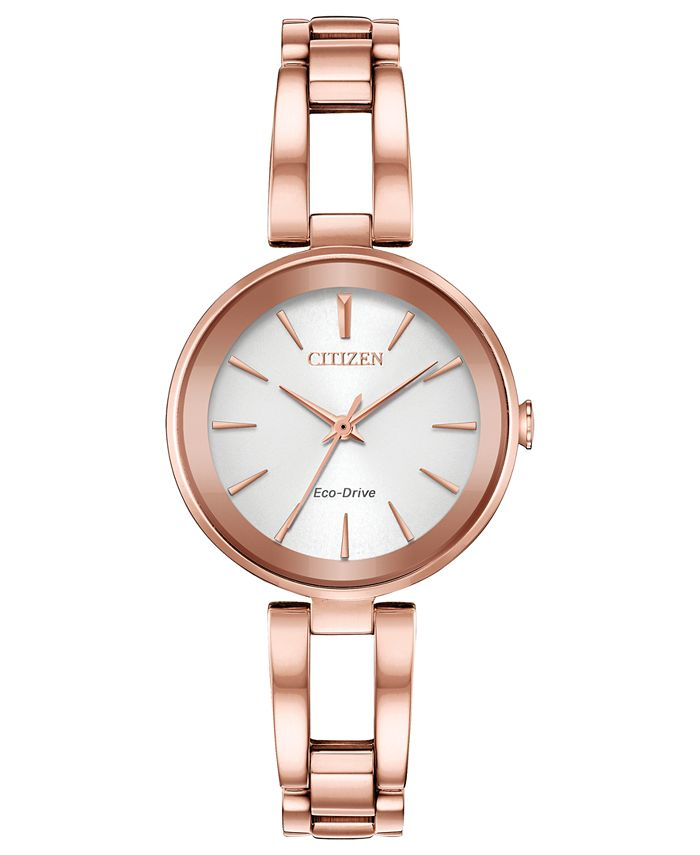 Citizen - Women's Eco-Drive Axiom Pink Gold-Tone Stainless Steel Bracelet Watch 28mm