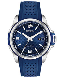 Citizen Drive From Citizen Eco-Drive Men's Blue Polyurethane Strap Watch 45mm